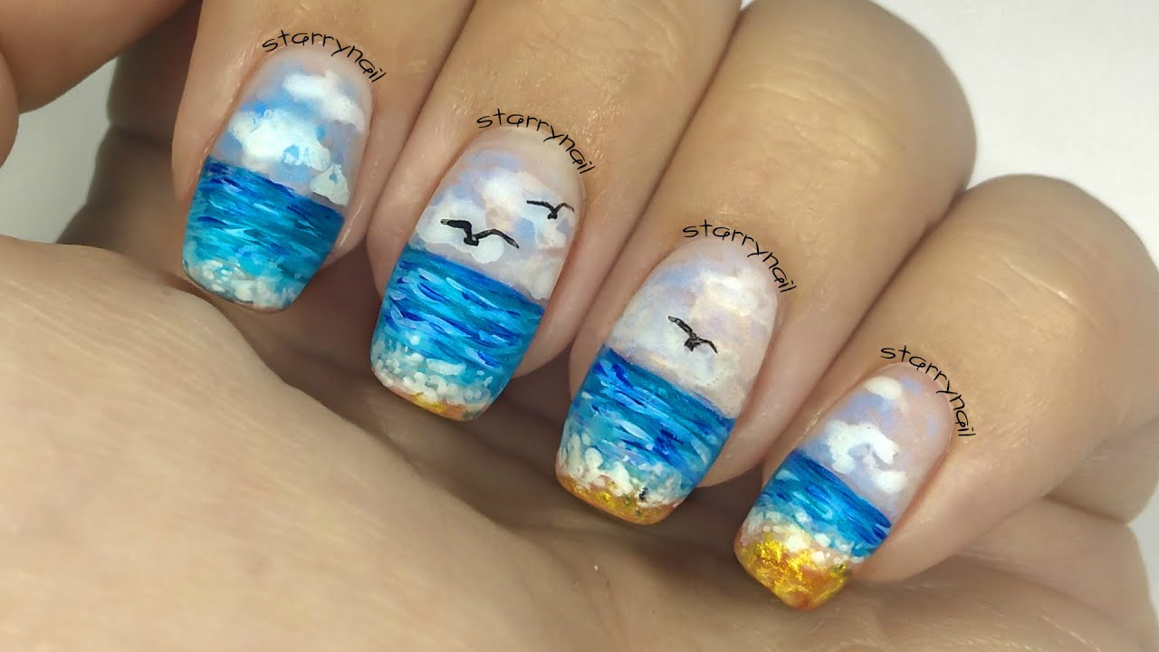 Ocean Nails [Freehand Nail Art] - Ocean Nails [Freehand Nail Art] - YouTube