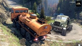 spintires 2014 the hill map kamaz fuel cistern trying to tow up hill a kraz 255 truck
