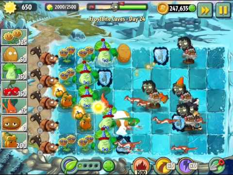 Plants vs Zombies 2 Frostbite Caves Day 24