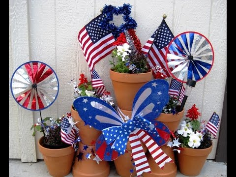 Terra Cotta Pots Outdoor Decorations 4th Of July Theme