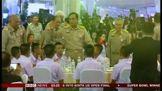 Thai cave boys and rescuers feast (Thailand) - BBC News - 7th September 2018