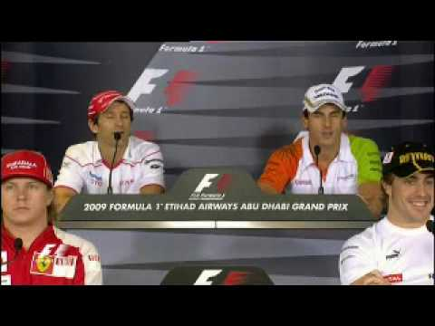 Jarno Trulli and Adrian Sutil conversation after the crash at Brazil 2009.