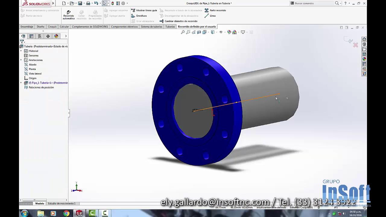 curso solidworks - como hacer Routing Tuberías en diseño 3d - YouTube