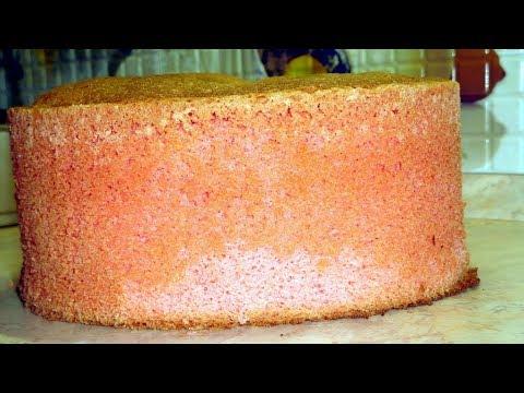 Как сделать розовый бисквит