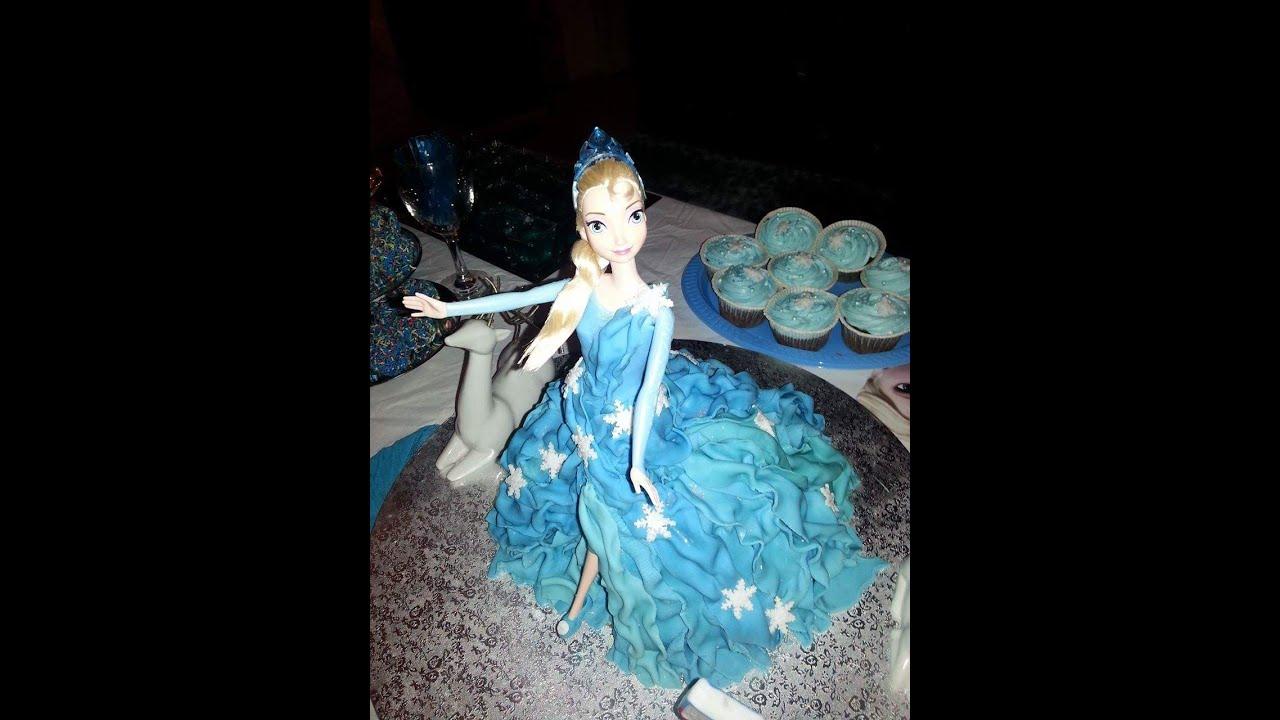 bd212c03f1 How to Make Birthday cake Elsa frozen ( Τούρτα Elsa Frozen) - YouTube