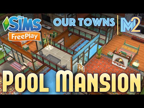 Sims FreePlay - Indoor Pool Mansion (Original House Design)