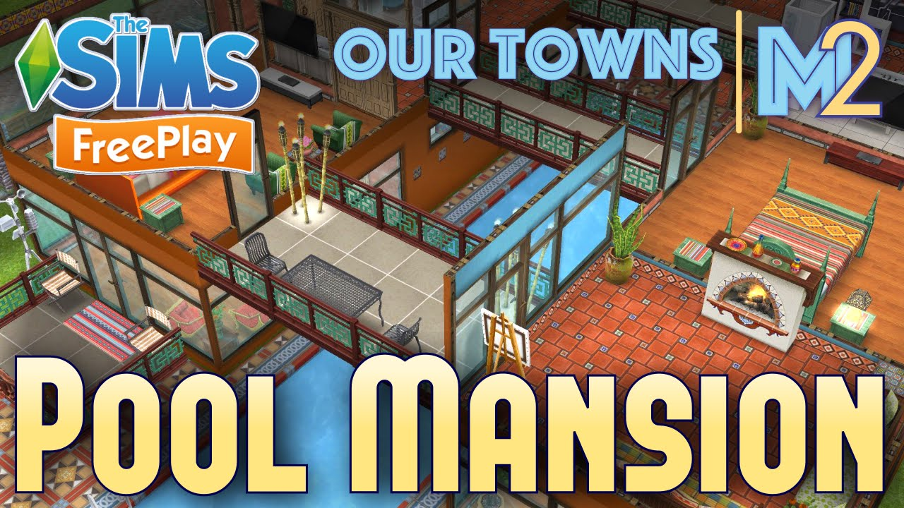 Sims FreePlay   Indoor Pool Mansion (Original House Design)   YouTube