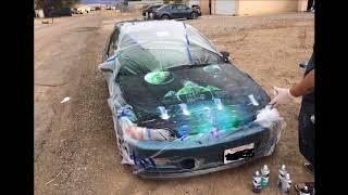 """Spray Paint Art - """"Oasis"""" - Done on Car Hood"""