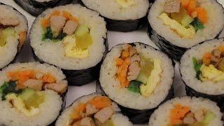 Настоящая корейская кухня: Кимба́п (кор. 김밥) - роллы. Как сделать кимпаб.