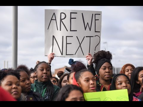 Gun control protest march and walkout at Detroit's Cass Technical High School, March 14, 2018