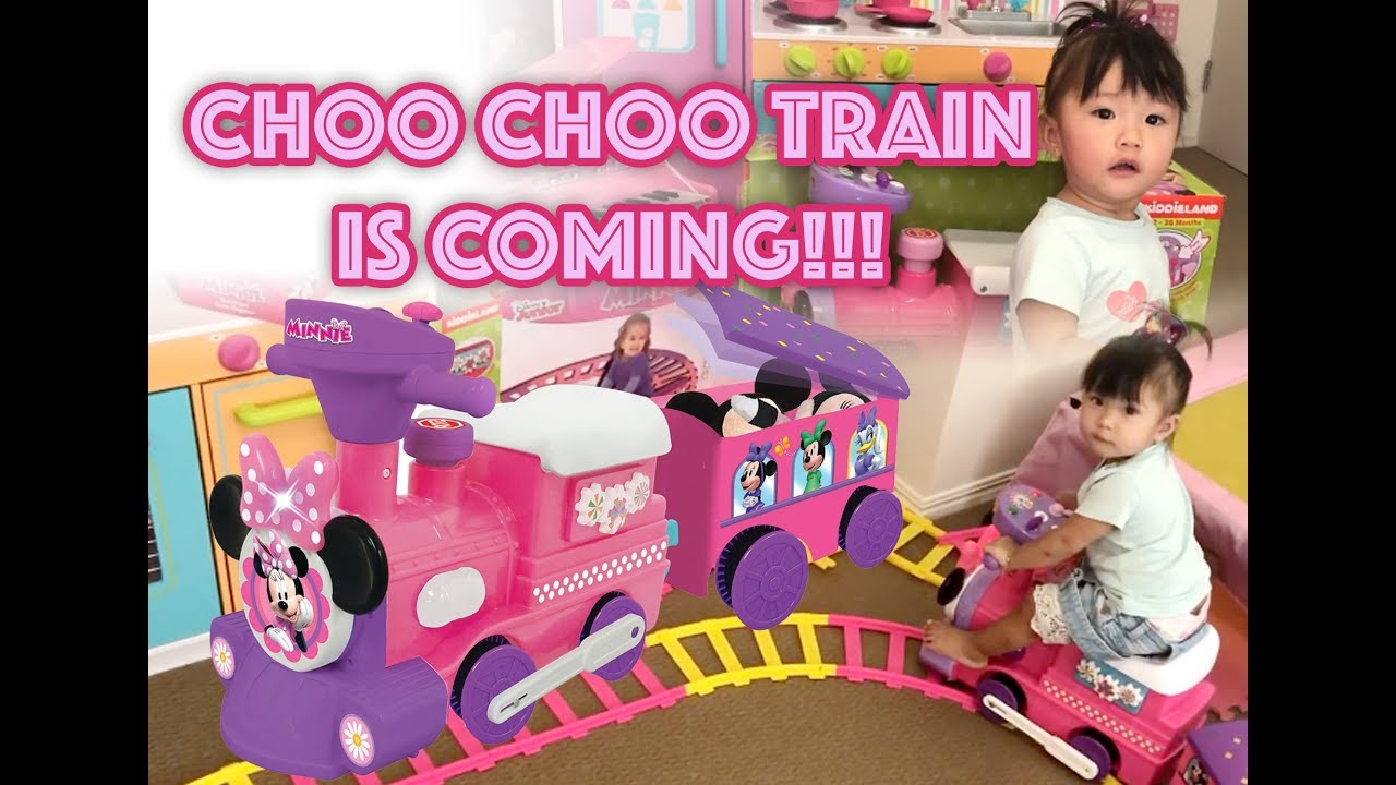 Disney Minnie Mouse Choo Choo Train With Tracks Ride On For Kids