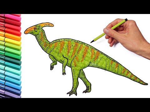 Drawing and Coloring parasaurolophus From Jurassic Park -