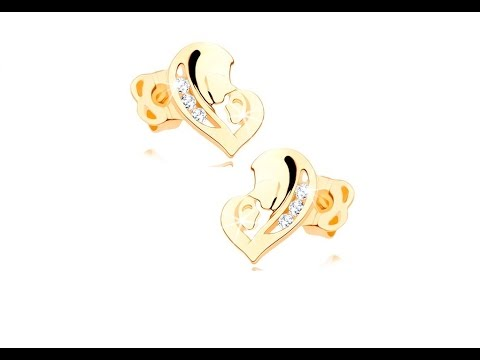 Jewellery - Earrings, yellow 14K gold - asymmetrical heart comprised of two faces