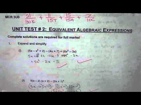 Unit 2 Test Equivalent Algebraic Expressions Grade 11 MCR3U - YouTube
