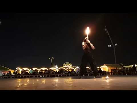 Fire Show at the Desert Camp in Dubai 2019