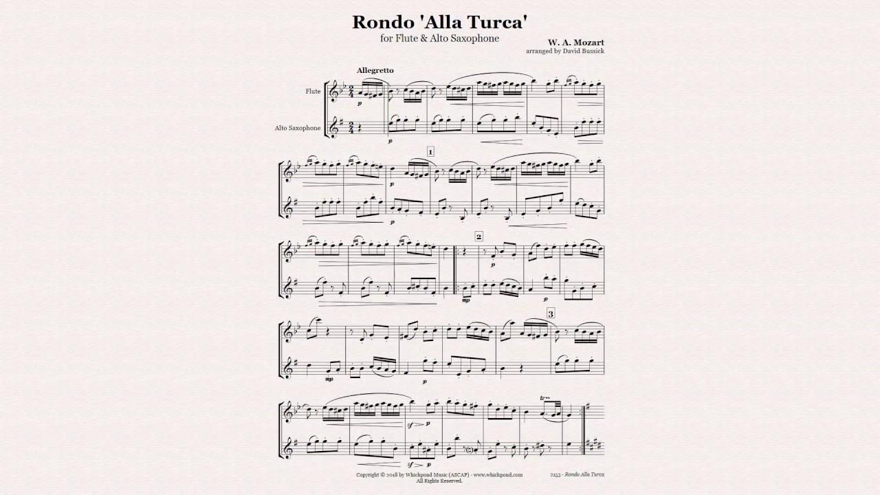 Alla Turca Mozart mozart turkish march flute/saxophone duet
