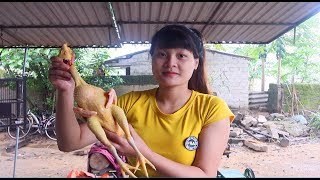 Cooking skills | Chicken cooked - primitive life | survival skills. HT