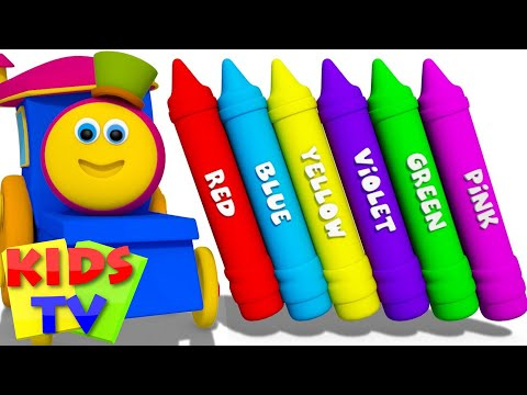 Learn Colors For Kids Babies Toddlers & Children Crayon Color Nursery Rhymes Bob the train S03EP 20