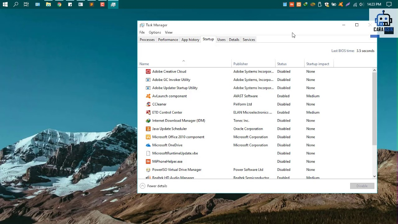 Cara mengatur (Enable / Disable) Startup Windows 10