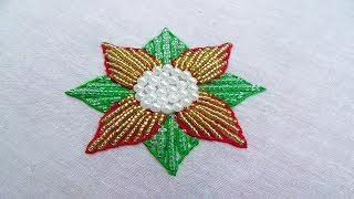 Hand Embroidery Beads Work, Beads Flower Embroidery, Flower Embroidery with Beads