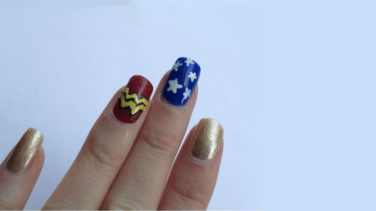Easy Wonder Woman nail art - DC comic book nail tutorial ...