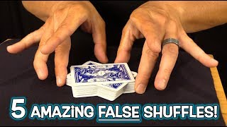 TOP 5 FALSE CARD SHUFFLES!! (Trick Shuffling Revealed!)
