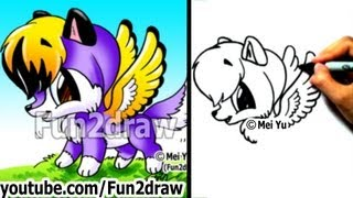Drawing Tutorials - How to Draw a Wolf with WINGS! - Cute Drawings - Fun2draw