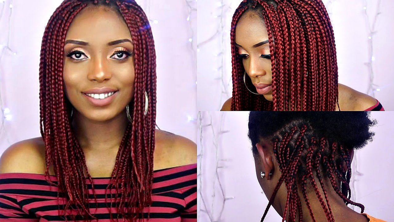 How To Box Braids Tutorial On Short Natural Hair - YouTube