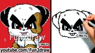 Divertido perros - Cómo Dibujar un Lindo Perro de dibujos animados - Clases de Dibujo - Fun2draw