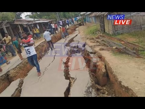 No earthquake but this street near Silchar has cracked dangerously