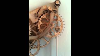 Wooden Mechanical Clock In Action!!