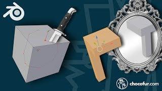 Blender 2.8 Beginner Tutorial PART 18: Knife and Mirror Tools