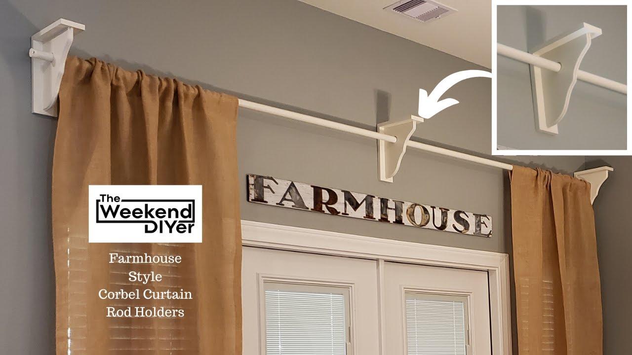 farmhouse style corbel curtain rod holders