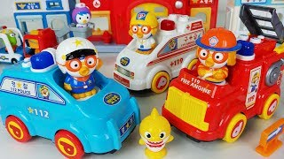 Baby shark and Pororo Fire Truck, Ambulance, Police car toys play - 토이몽