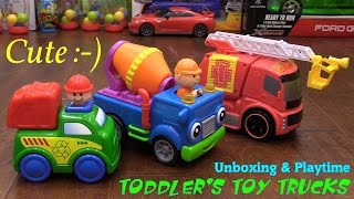 Toddlers and Children's Toys: Toy Trucks! Fire Truck, Dump Truck and Cement Truck Unboxing