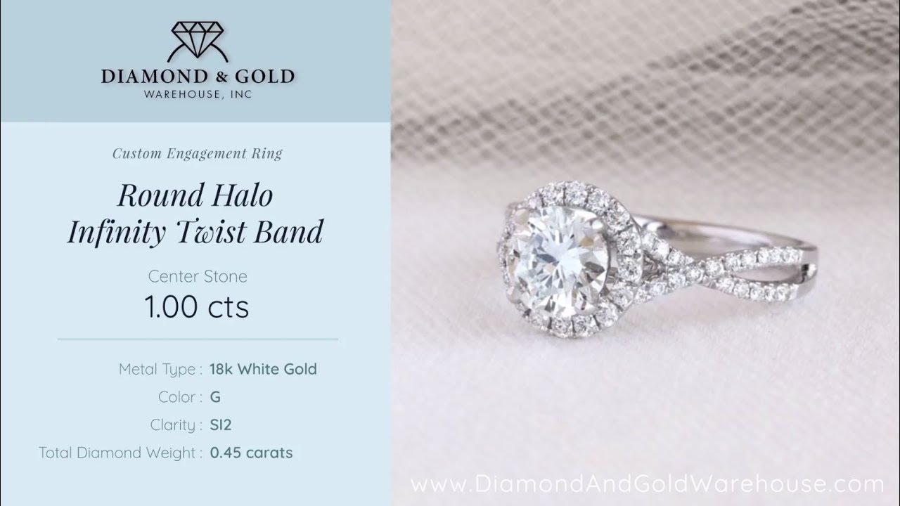 engagement round ring diamond index white halo infinity gold