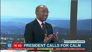 Mnangagwa calls for calm in Zimbabwe