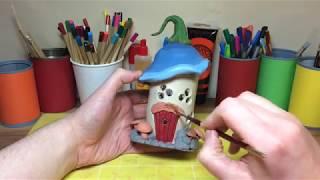 How To Make DAS Terracotta Clay Plastic Bottle  Fantasy Mushroom House, Fairy Mushroom Night Light