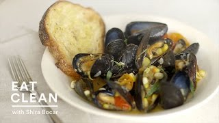 Steamed Mussels With Corn And Cherry Tomatoes - Eat Clean With Shira Bocar