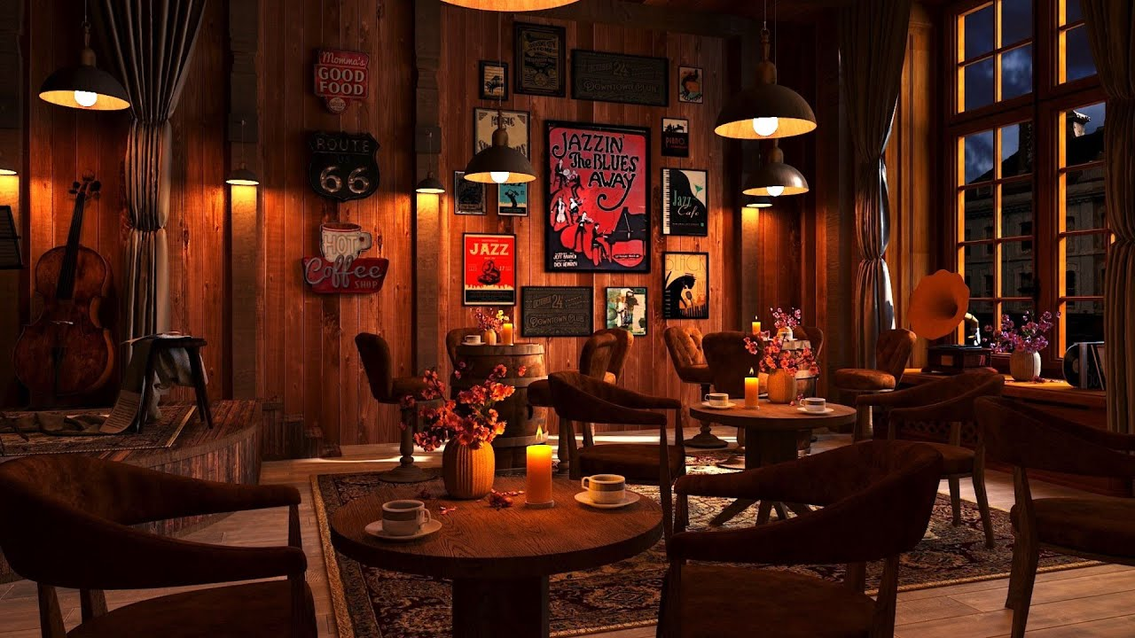 Download Cozy Coffee Shop Ambience with Relaxing Jazz Music and Rain Sounds, Rainy Night & Smooth Jazz Music