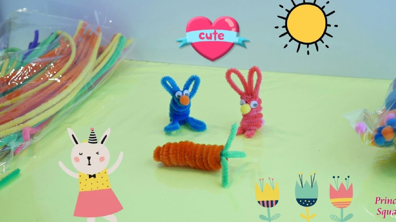 Pipe cleaners arts and crafts - Pipe Cleaner Crafts Bunnies Carrot Two Bunnies A Carrot Pipe Cleaner Craft