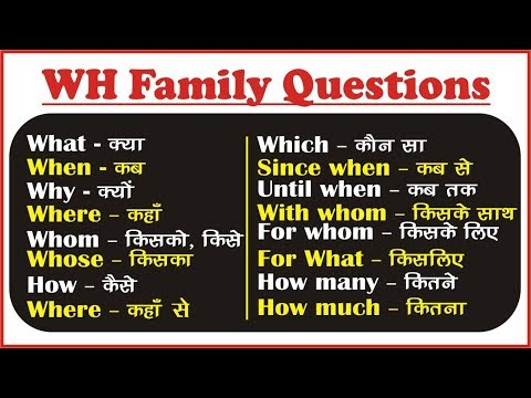 WH Family Question Words in English: WH Questions Exercises - YouTube
