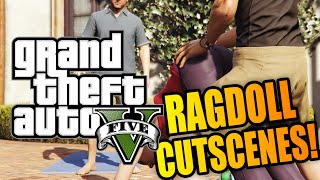 GTA 5 PC: Ragdoll Mod in Cutscenes! (Funny Moments w/ Mods)