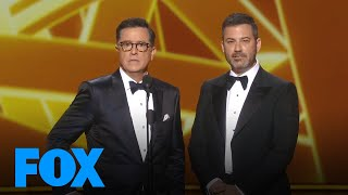 jimmy kimmel stephen colbert are peeved theres no host emmys live 2019