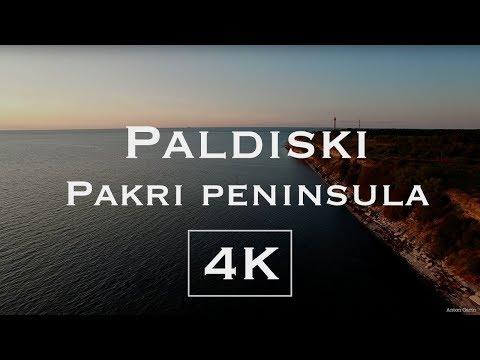 Paldiski. Sunset. Pakri peninsula. 4K - Aerial drone video