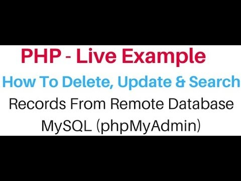 php code how to search update delete from mysql (phpmyadmin) table