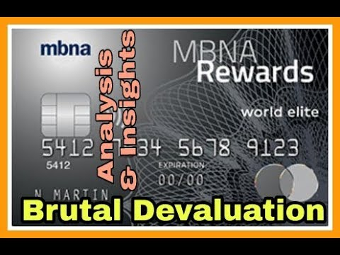 Brutal Devaluation | MBNA Rewards World Elite MasterCard | Non-Affiliated & Unbiased |
