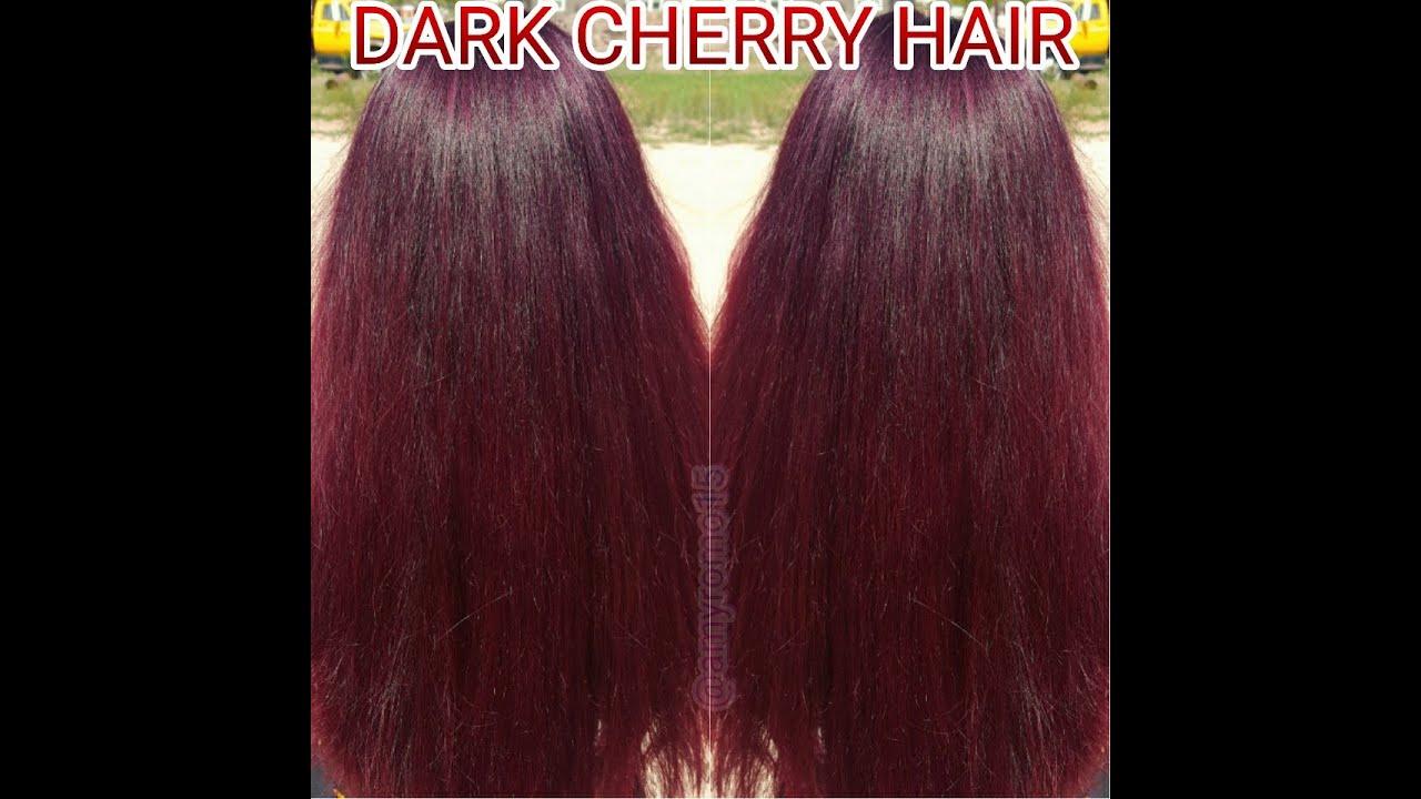 DARK CHERRY HAIR COLOR TUTORIAL - YouTube