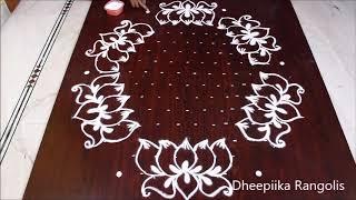 creative lotus flower rangoli design with 15x8 dots * friday lotus kolam design * new muggulu design