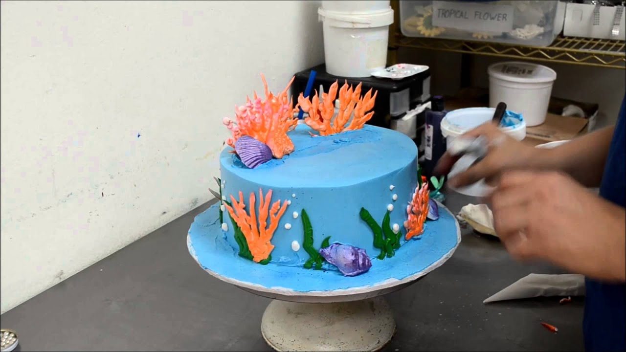 How To Make A Little Ariel Ocean Theme Mermaid Cake Youtube
